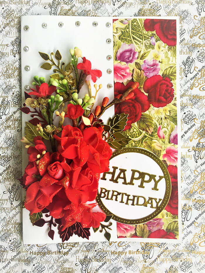 Red Roses Birthday Card Front
